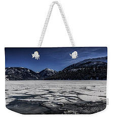 Weekender Tote Bag featuring the photograph Frozen Wallowa Lake by Cat Connor