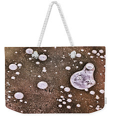 Weekender Tote Bag featuring the photograph Frozen Water Drops Abstract by Gary Slawsky