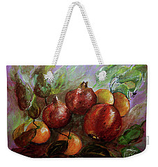 Weekender Tote Bag featuring the painting Fruit Dance by Jasna Dragun