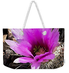 Weekender Tote Bag featuring the photograph Fuchsia Cactus Blossom by Phyllis Denton