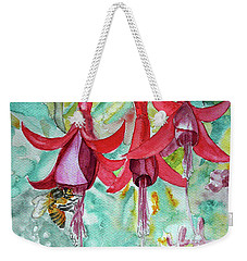 Weekender Tote Bag featuring the painting  Fuchsia by Jasna Dragun