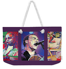 Weekender Tote Bag featuring the drawing Full Band Set by Joshua Morton