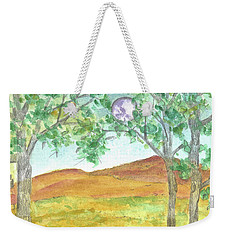 Weekender Tote Bag featuring the drawing Full Moon And Robin Eggs by Cathie Richardson