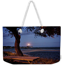 Weekender Tote Bag featuring the photograph Full Moon At Inlet Watch by Phil Mancuso