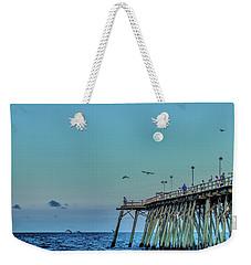 Full Moon At Kure Beach Pier Weekender Tote Bag