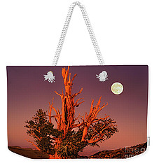 Weekender Tote Bag featuring the photograph Full Moon Behind Ancient Bristlecone Pine White Mountains California by Dave Welling