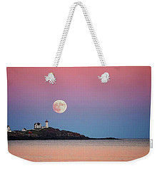 Full Moon Rising At Nubble Light Weekender Tote Bag