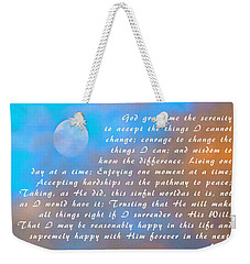 Weekender Tote Bag featuring the photograph Full Moon Serenity Prayer Digital by Floyd Snyder