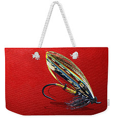 Fully Dressed Salmon Fly On Red Weekender Tote Bag by Serge Averbukh