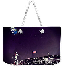 Weekender Tote Bag featuring the digital art Fun On The Moon by Methune Hively
