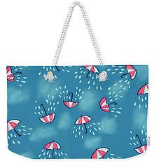 Fun Raining Umbrella Pattern Weekender Tote Bag