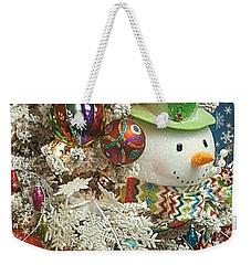 Fun Snowman Holiday Greeting Weekender Tote Bag