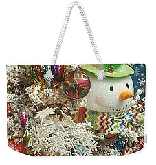 Fun Snowman Holiday Greeting Weekender Tote Bag