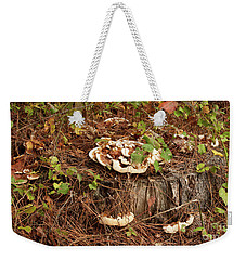 Weekender Tote Bag featuring the photograph Fungi And Needles And Tree Trunk  Oh My by Carol Lynn Coronios