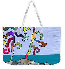 Weekender Tote Bag featuring the digital art Funky Beach Trees by Paula Brown
