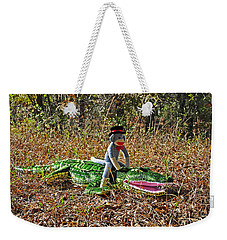 Weekender Tote Bag featuring the photograph Funky Monkey - Reptile Rider by Al Powell Photography USA
