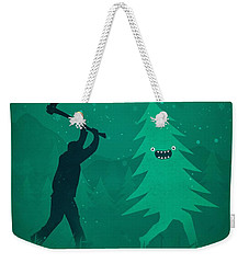 Funny Cartoon Christmas Tree Is Chased By Lumberjack Run Forrest Run Weekender Tote Bag
