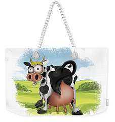 Weekender Tote Bag featuring the drawing Funny Cow by Julia Art
