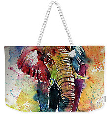 Weekender Tote Bag featuring the painting Funny Elephant by Kovacs Anna Brigitta
