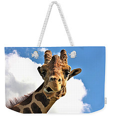 Funny Face Giraffe Weekender Tote Bag by Sheila Brown