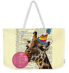 Funny Giraffe, Dictionary Art Weekender Tote Bag by Madame Memento