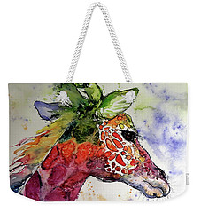 Weekender Tote Bag featuring the painting Funny Giraffe by Kovacs Anna Brigitta