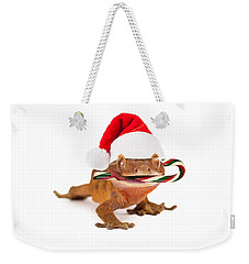 Funny Lizard Eating Christmas Candy Cane Weekender Tote Bag