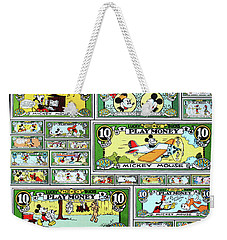 Weekender Tote Bag featuring the digital art Funny Money Collage by Joseph Hawkins