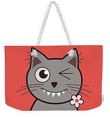Funny Winking Cartoon Kitty Cat Weekender Tote Bag