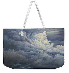 Weekender Tote Bag featuring the painting Fury Over Square Butte by Kim Lockman