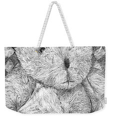 Weekender Tote Bag featuring the drawing Fuzzy Wuzzy Bear  by Vicki  Housel