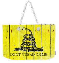 Gadsden Flag On Old Wood Planks Weekender Tote Bag