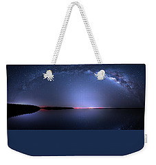 Weekender Tote Bag featuring the photograph Galactic Lake by Mark Andrew Thomas