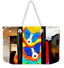 Weekender Tote Bag featuring the painting Galerie Blue Dog by Barbara Chichester