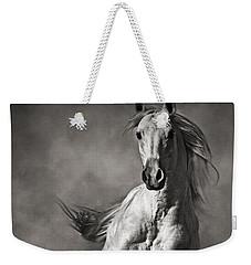 Galloping White Horse In Dust Weekender Tote Bag