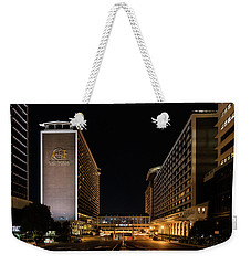 Weekender Tote Bag featuring the photograph Galt House Hotel And Suites At Night by Randy Scherkenbach
