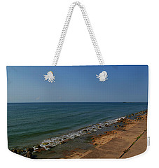 Weekender Tote Bag featuring the photograph Galveston Beach At The Seawall by Tikvah's Hope