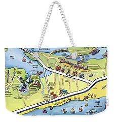 Galveston Texas Cartoon Map Weekender Tote Bag