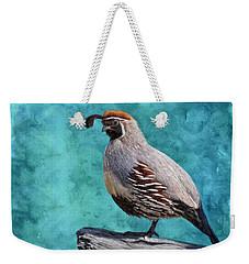 Gamble Quail's Backdrop In Teal Weekender Tote Bag