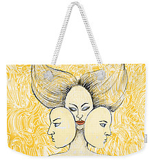 Weekender Tote Bag featuring the drawing Game Of Masks by Nareeta Martin
