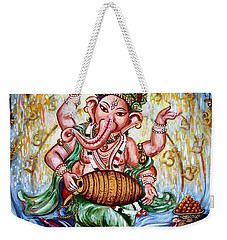 Ganesha Dancing And Playing Mridang Weekender Tote Bag