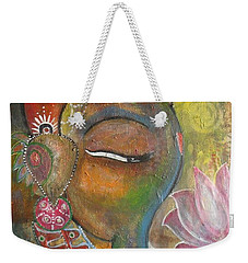 Weekender Tote Bag featuring the painting Ganesha With A Pink Lotus by Prerna Poojara