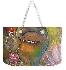 Ganesha With A Pink Lotus Weekender Tote Bag by Prerna Poojara