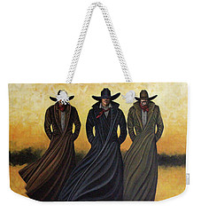 Weekender Tote Bag featuring the painting Gang Of Three by Lance Headlee