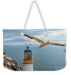 Gannets At Bass Rock Lighthouse Weekender Tote Bag