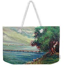Weekender Tote Bag featuring the painting Garda Lake -lago Garda by Walter Casaravilla