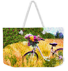 Garden Bicycle Print Weekender Tote Bag