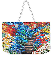 Red White And Blue Garden Cascade.               Flying Lamb Productions  Weekender Tote Bag