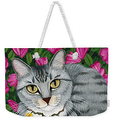 Weekender Tote Bag featuring the painting Garden Cat - Silver Tabby Cat Azaleas by Carrie Hawks