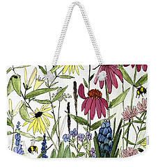 Garden Flowers With Bees Weekender Tote Bag